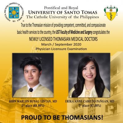2 Thomasians in top 10 of March, September 2020 physician licensure exams